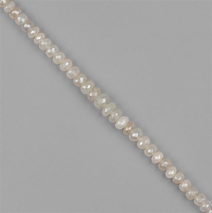 110cts Pearl Coated Chalcedony Graduated Faceted Rondelles Approx 5x4 to 10x5mm, 20cm Strand.