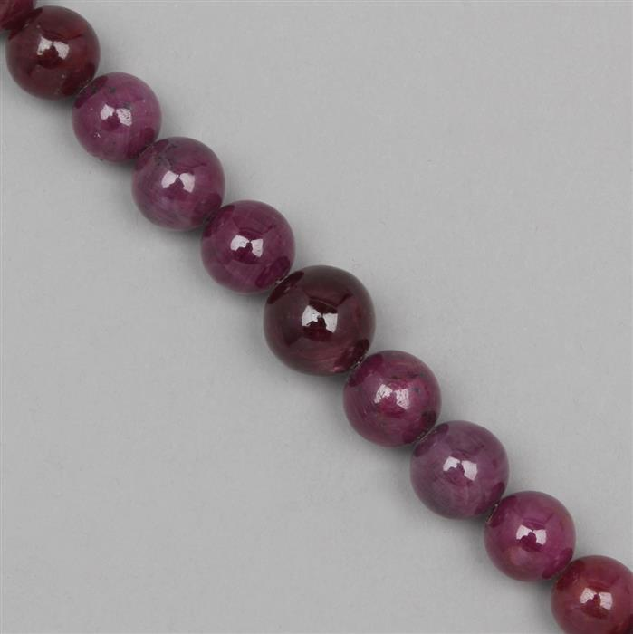 360cts Ruby Graduated Plain Rounds Approx From 12 to 15mm, 17cm Strand.