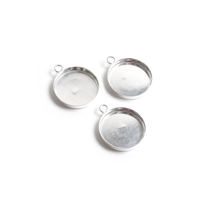 925 Sterling Silver 18mm Round Pendant Bezels. (Pack of 3Pcs)