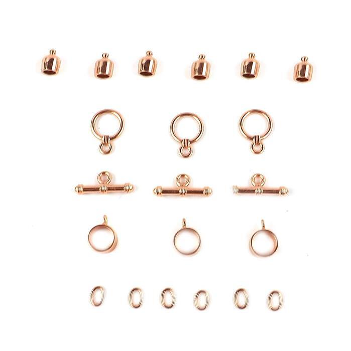 Kumihimo Accessory Pack Rose Gold Coloured 6mm (3pack)