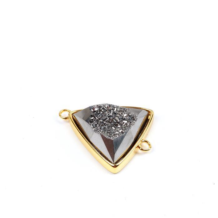 10cts Gunblack Agate Druzy Triangle Connector Approx 20x24mm, 1pk