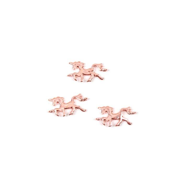 Rose Gold coloured Unicorn Connectors Approx 20 x12mm, 3pk