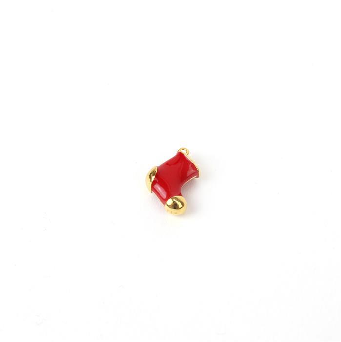 Gold Plated 925 Sterling Silver 3D Stocking Charm Approx 13x12mm, 1pc