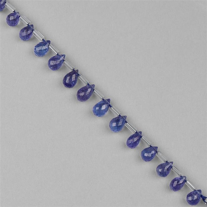 19.5cts Tanzanite Graduated Faceted Drops Approx 5x3 to 8x5 mm, 8cm Strand.