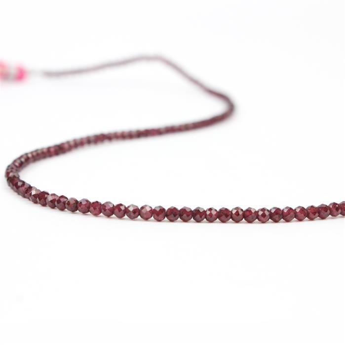 24cts Rhodolite Garnet Micro Faceted Rounds Approx 2mm, 29cm Strand.