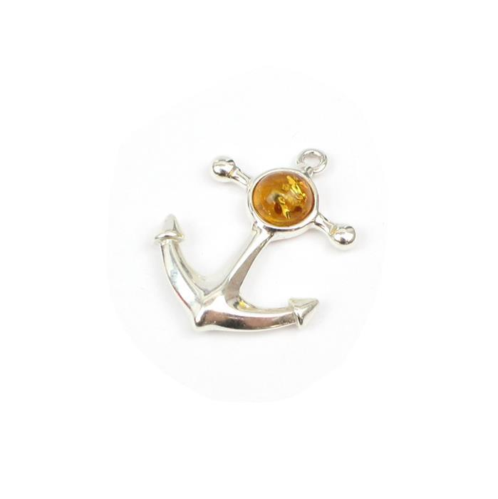 Baltic Cognac Amber Anchor Charm Approx 22mm Sterling Silver