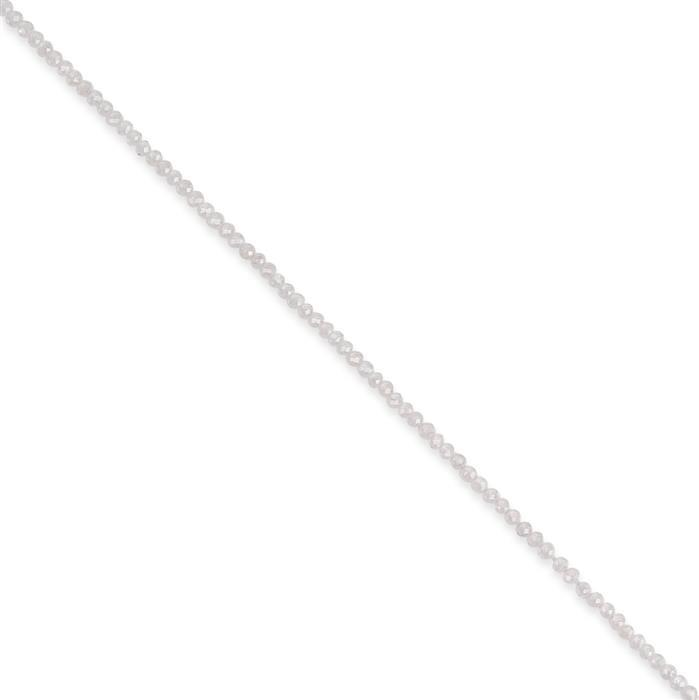 10cts White Zircon Micro Faceted Rondelles Approx 2x1mm, 30cm Strand.