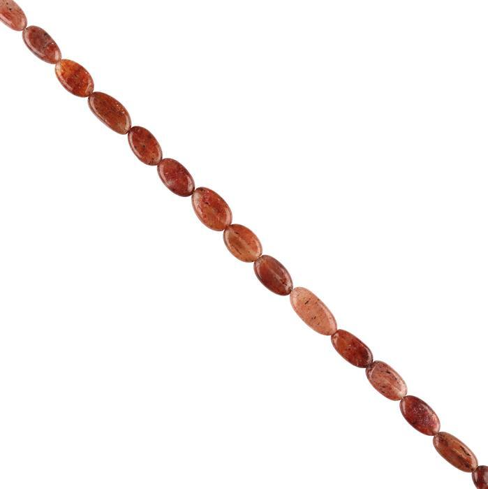 80cts Red Rutile Graduated Plain Ovals Approx 7x5 to 14x8mm, 30cm Strand.