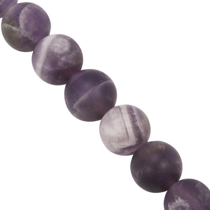 140cts Chevron Amethyst Plain Matte Finished Rounds Approx 8mm, 28cm Strand.