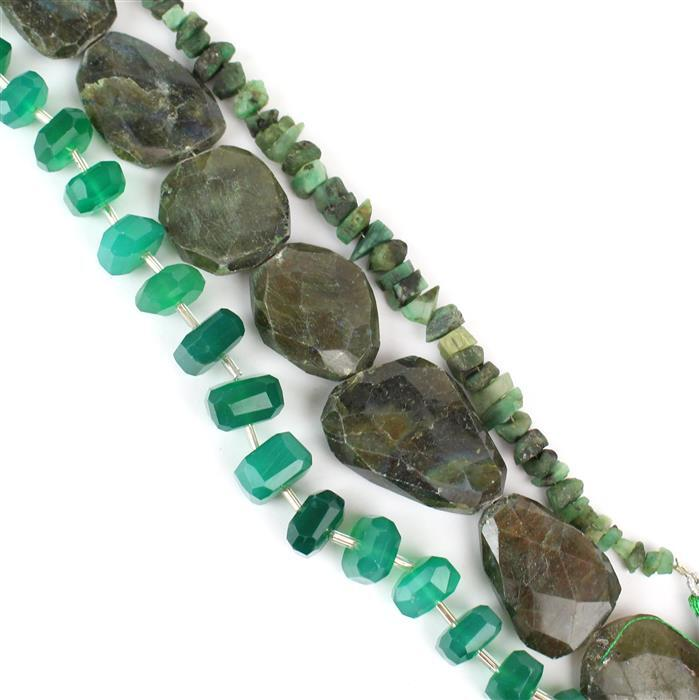 Nugget bundle Inc Labradorite, Onyx & Emerald