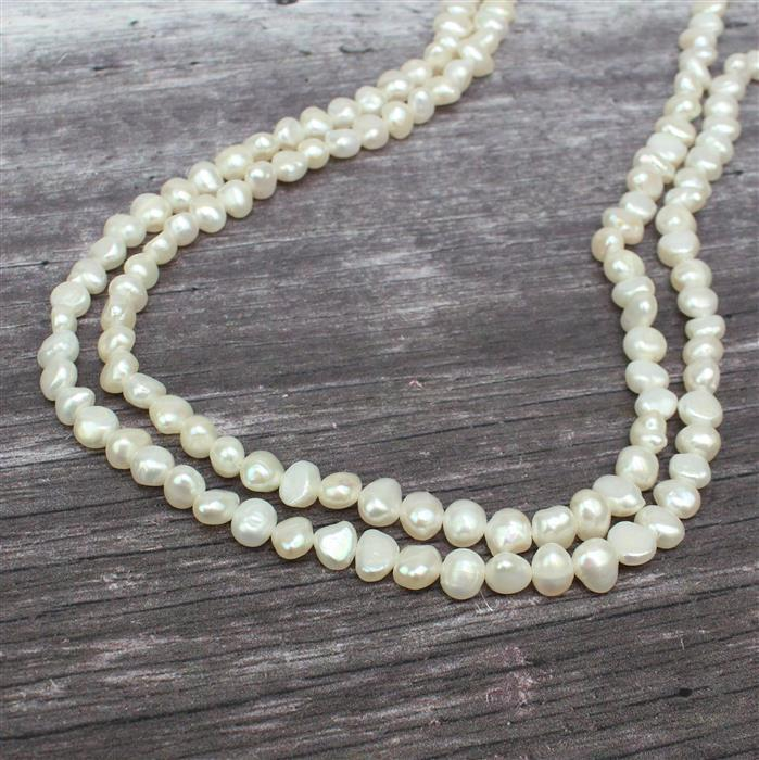 White Freshwater Cultured Pearl Nuggets Approx 6x7 to 7x8mm, 1m Strand