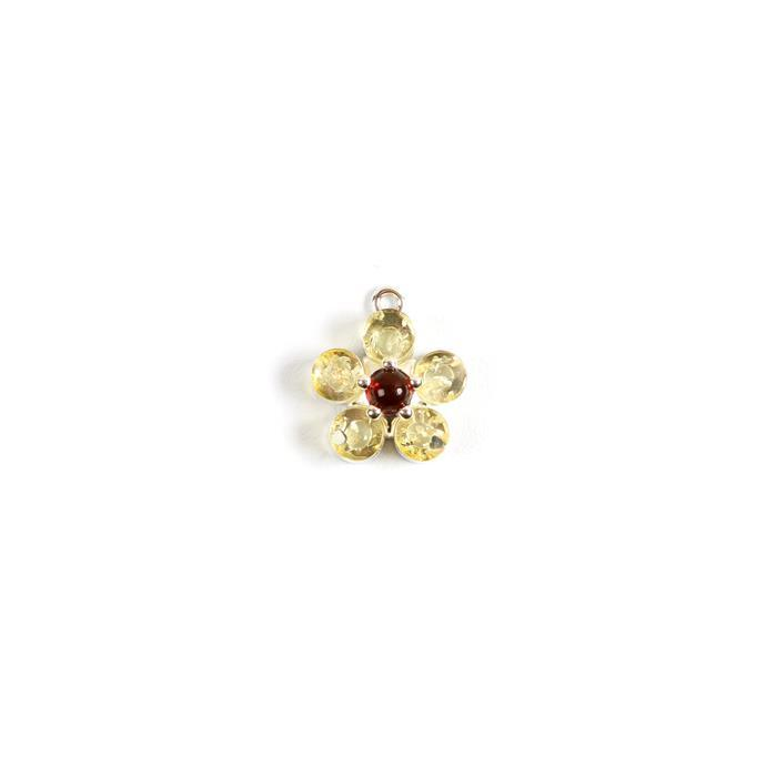 Baltic Lemon And Cognac Amber Flower Charm,Sterling Silver ,