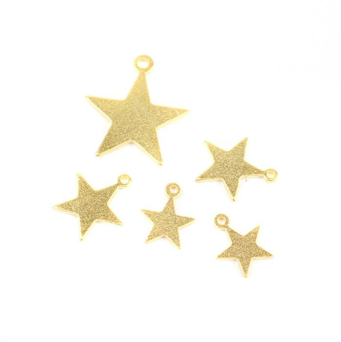 Gold Plated 925 Sterling Silver Satin Star Charms Set ( Approx 1x17mm, 2x11mm,2x9mm), 5pcs