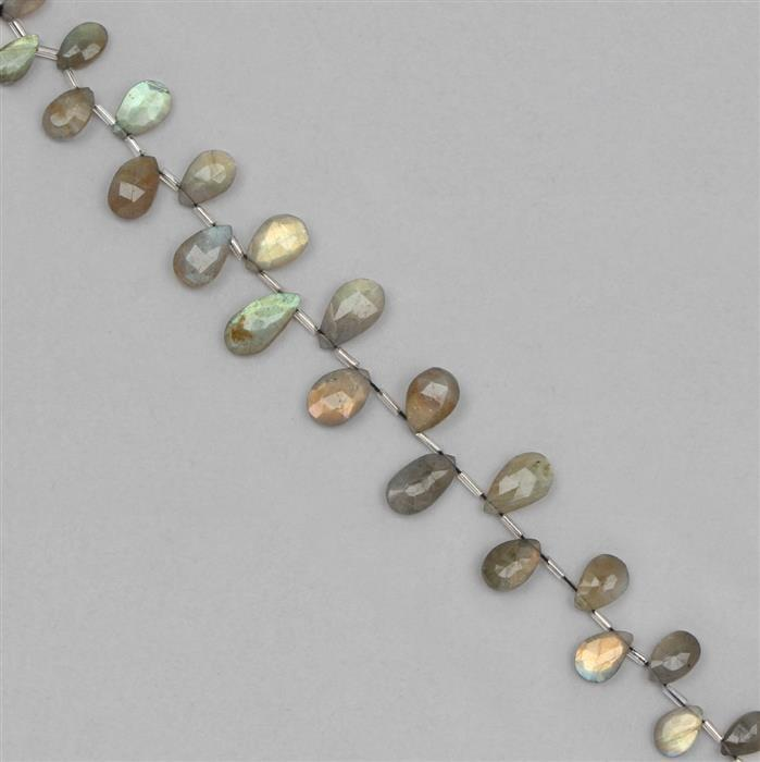 95cts Labradorite Graduated Faceted Pears Approx 9x6 to 16x10mm, 18cm Strand.