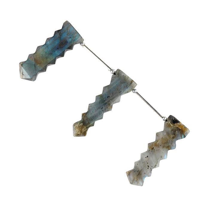 145cts Labradorite Graduated Fancy Cut Slabs Approx 48x14 to 53x15mm,10cm Strand.(Pack of 3)