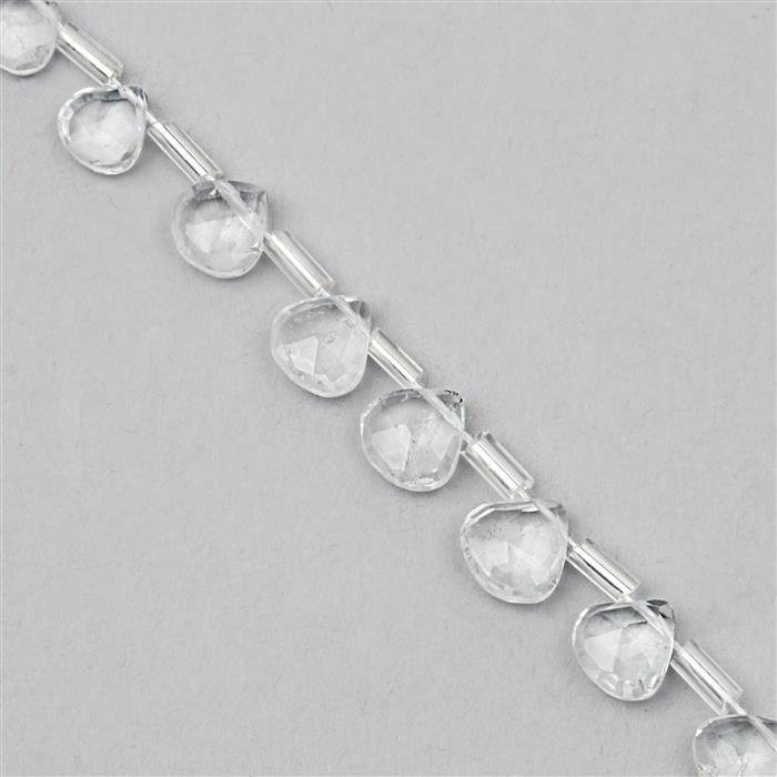 25cts White Topaz Faceted Pears Approx 5x4 to 6x6mm, 20cm Strand with spacer