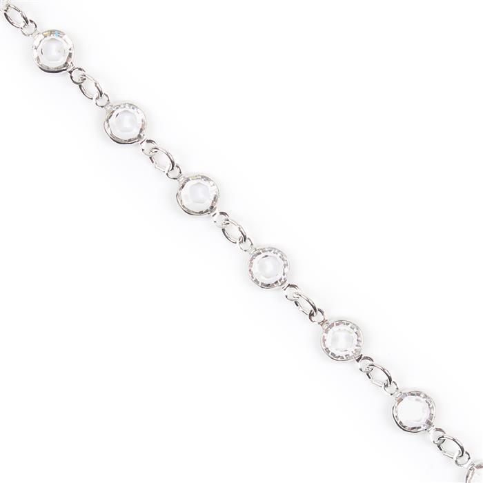 Swarovski Crystal Channel Chain, Rhodium Plating, 90005, 50cm