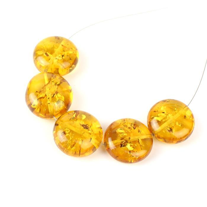 Baltic Cognac Amber Through Drilled Coins Approx 15mm, 5pcs