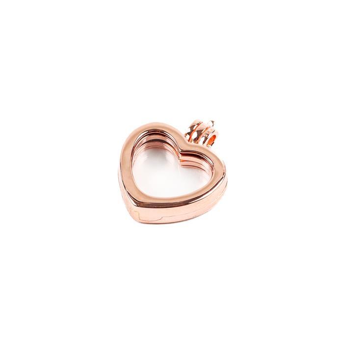Rose Gold Plated 925 Sterling Silver Heart Memory Locket, Approx 20mm, 1pcs