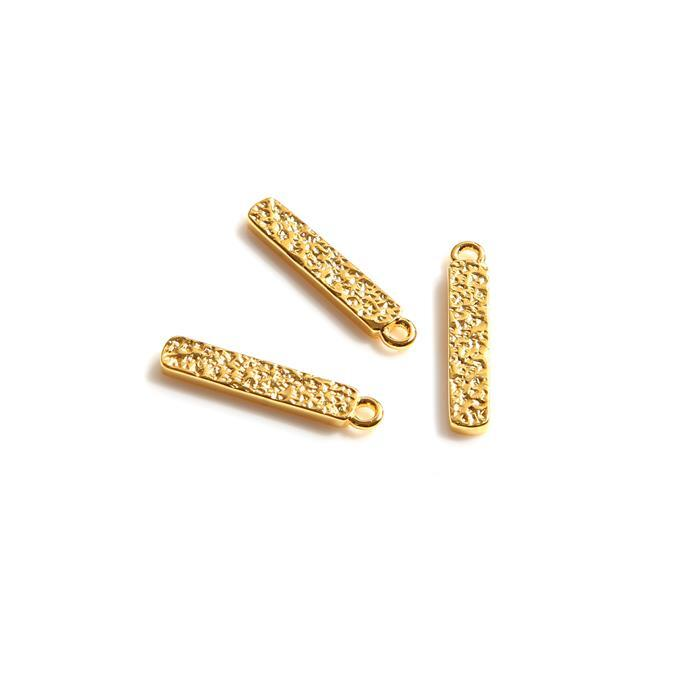 Gold Plated 925 Sterling Silver Textured Bar Pendant (Approx 17mm), 3pcs