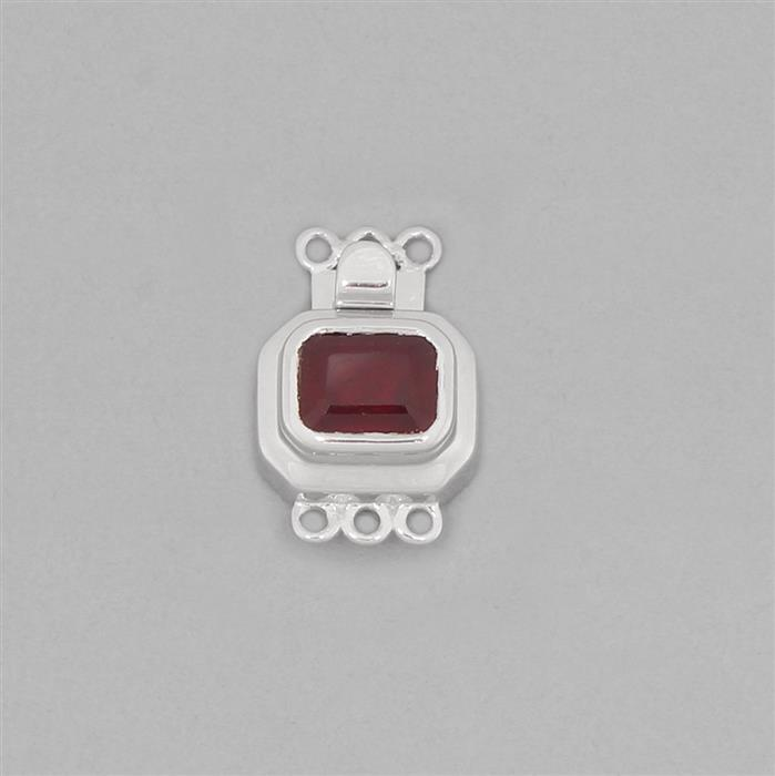 925 Sterling Silver Gemset Box Clasp Approx 20x13mm Inc. 2.55cts Ruby Octagon Approx 8x6mm