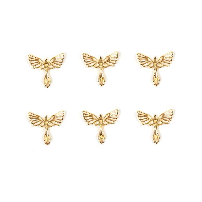 Gold Colour Base Metal Phoenix Pendant, Approx 23x21mm (6pcs)