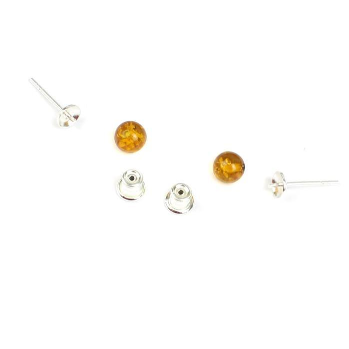 Baltic Cognac Amber Sterling Silver Stud Earrings, Approx 6mm (1 pair)