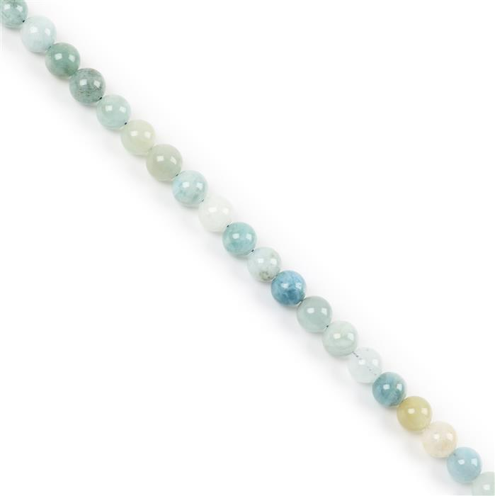 250cts Multi-Colour Aquamarine Plain Rounds Approx 10mm 38cm strand