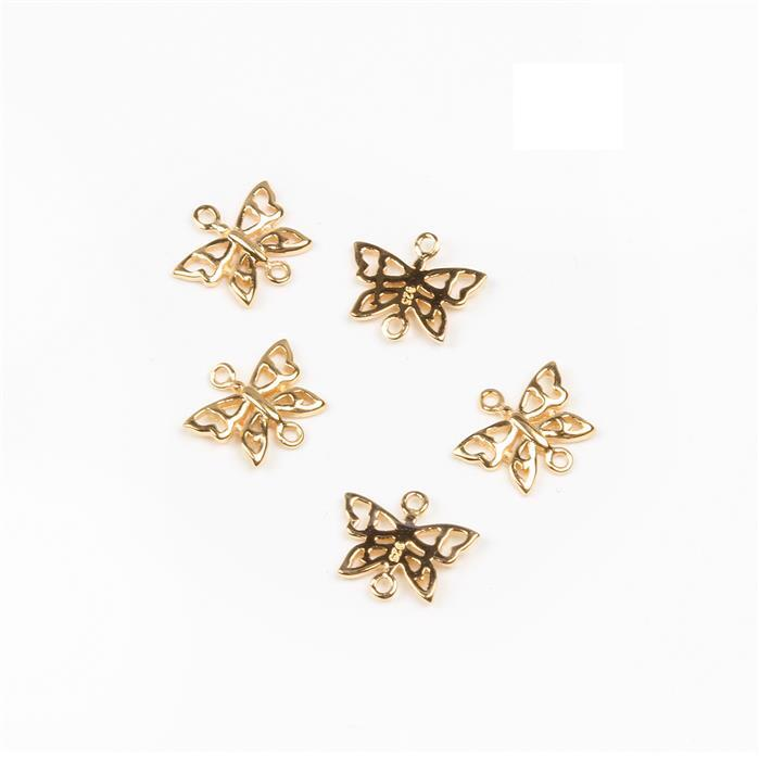 Gold Plated 925 Sterling Silver Butterfly Charms Approx 11x9mm (5pcs)