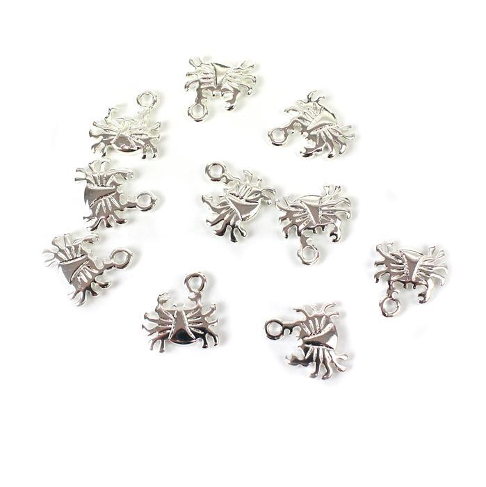 Silver Plated Base Metal Crab Charms, Approx 13mm (10pcs)