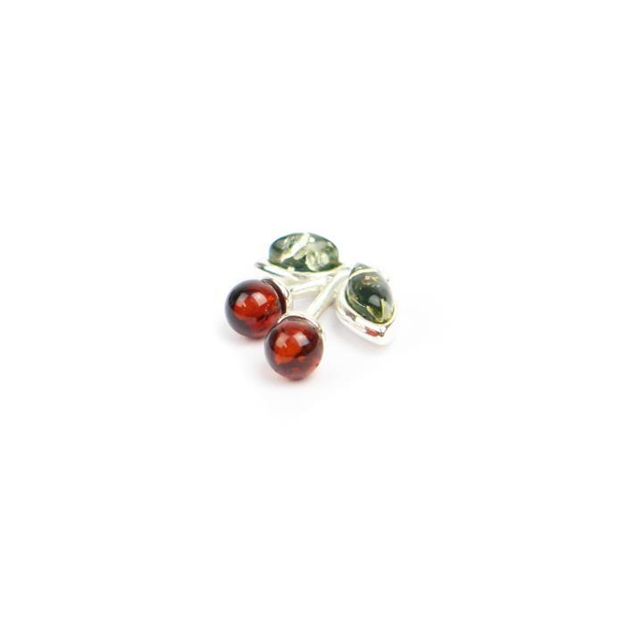 "Baltic Cherry and Green Amber ""Cherry"" Charm , Sterling Silver , Approx 14x13mm"