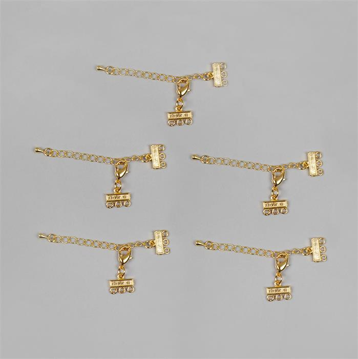 Gold Coloured Brass Clasps with Extender - 80x11mm (5pcs/pk)