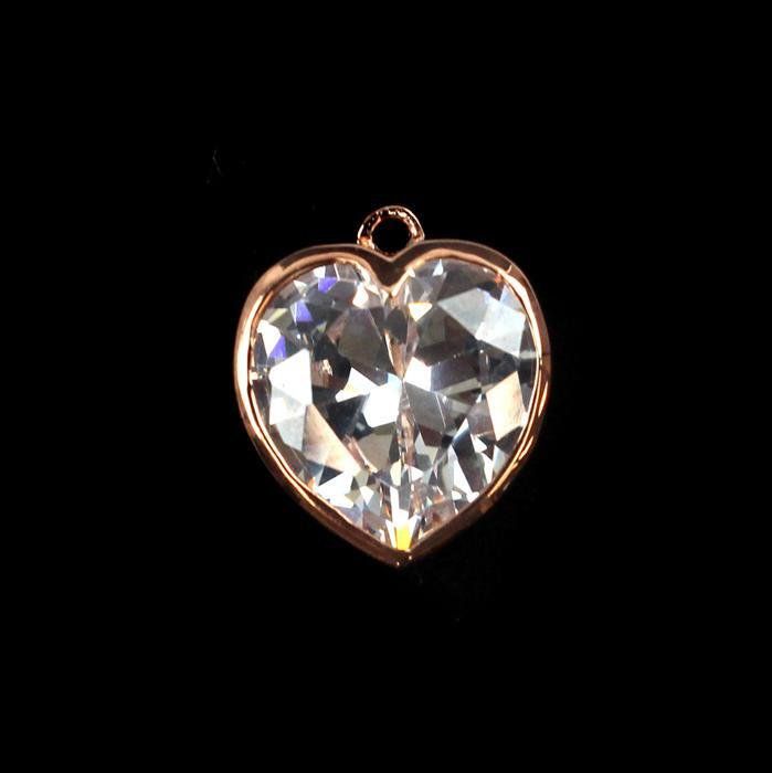 Rose Gold Plated 925 Sterling Silver Cubic Zironia Heart Charm Approx 13mm, 1pcs