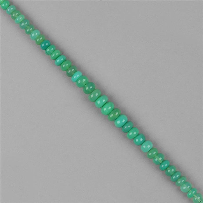 66cts Chrysoprase Graduated Plain Rondelles Approx 3x2 to 8x4mm, 18cm Strand.