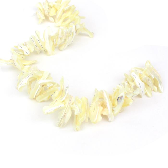 Cream Double Drilled Fancy Shell Strand Approx 9x30mm-10x33mm, 38cm