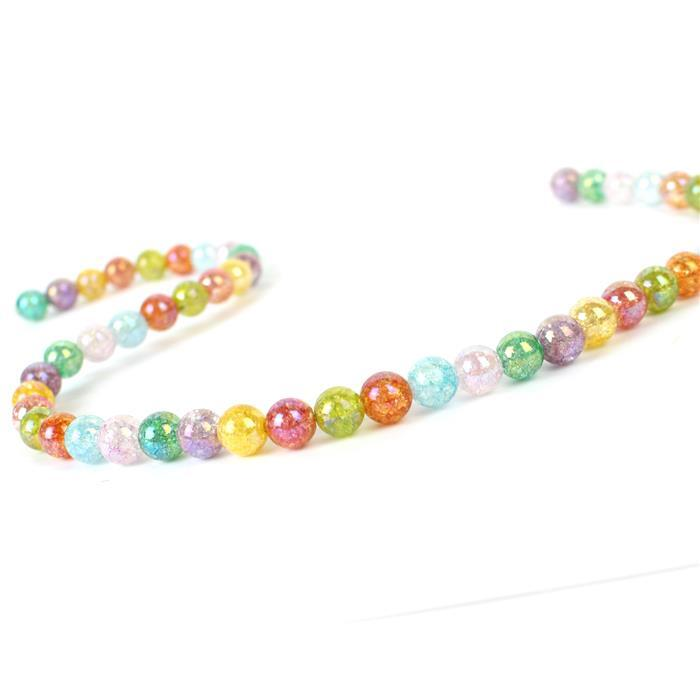 180cts Rainbow Coated Crackled Multi-Colour Quartz Plain Rounds Approx 8mm, Approx 38cm strand