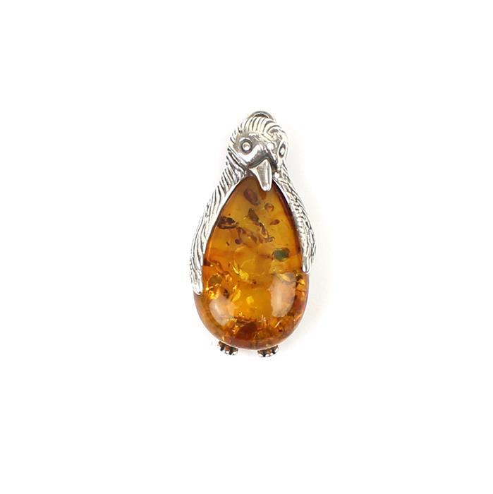Baltic Cognac Amber Bead Drop Pendant Sterling Silver 'Penguin' Element Approx 24x12mm