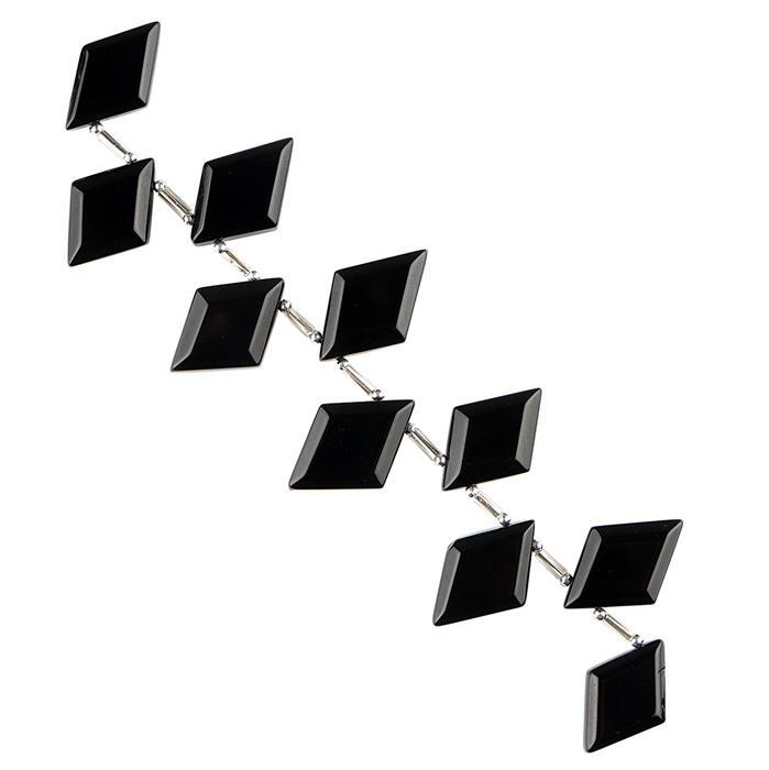 95cts Black Onyx Graduated Step Cut Rhombus Approx 12x10 to 21x15mm, 10cm Strand.