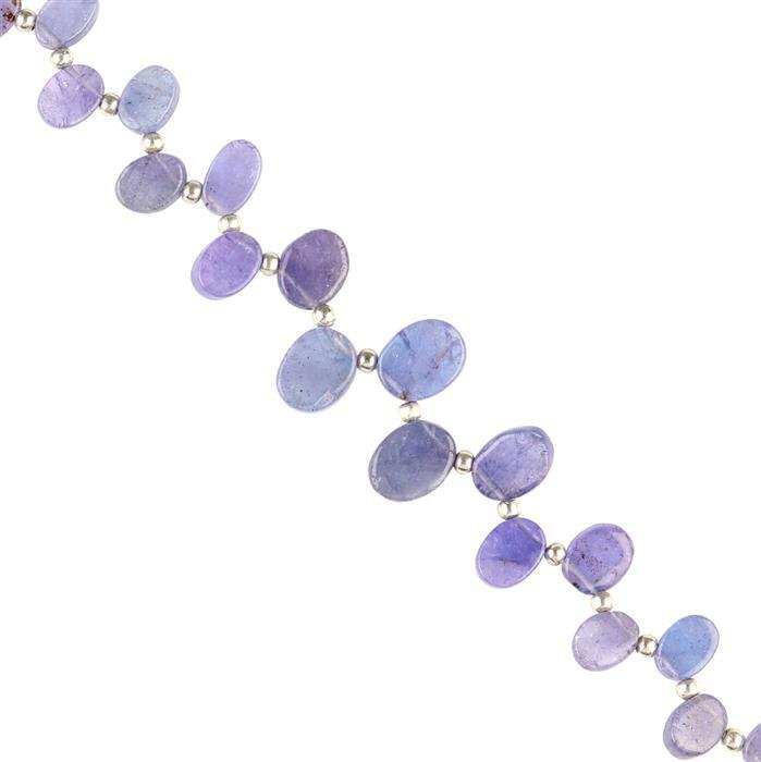30cts Tanzanite Graduated Plain Flat Ovals Approx 5x3 to 9x7mm, 16cm Strand.