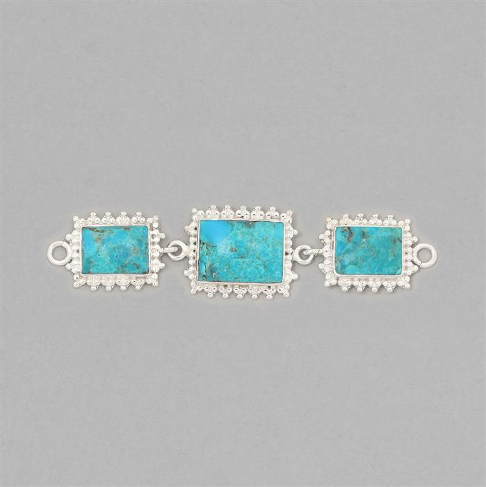 925 Sterling Silver Gemset Triple Linked Connector Approx 82x19mm Inc. 22cts Turquoise Cushion Cabochons