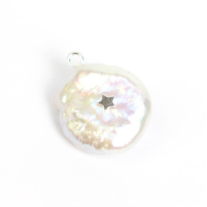 Freshwater Baroque Pearl Charm With 925 Sterling Silver Star Approx 24x17mm