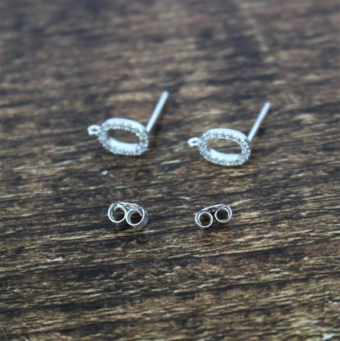 925 Sterling Silver Cubic Zirconia Oval Earring Post With Butterfly Back Approx 6x10mm, 1pair