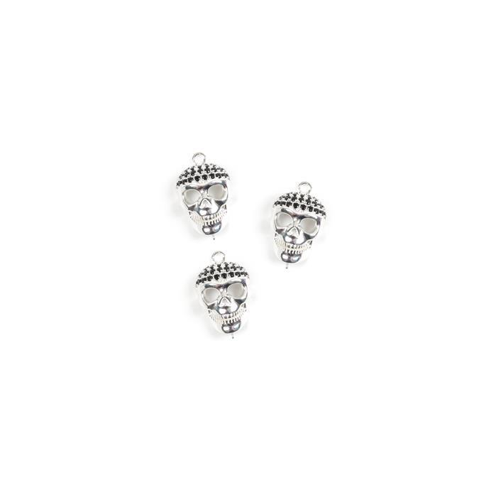 925 Sterling Silver and Black Cubic Zirconia Skull Connectors Approx 11x7mm, 3pk
