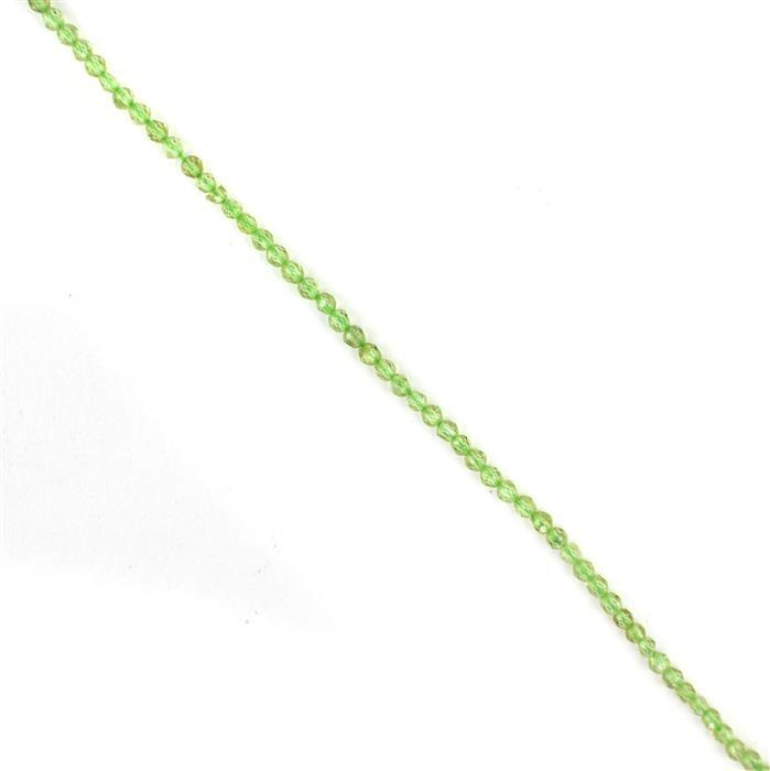 8cts Peridot Faceted Rounds Approx 2mm, 38cm Strand