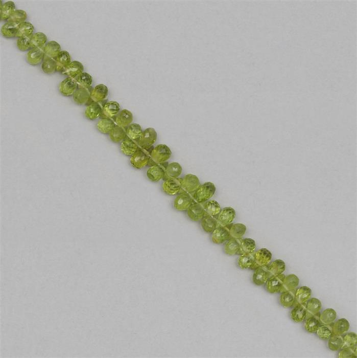 48cts Peridot Graduated Faceted Drops Approx 3x2 to 6x3mm, 18cm Strand.