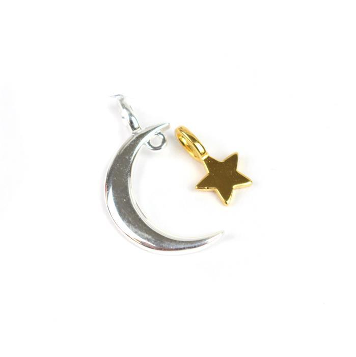 925 Sterling Silver Moon And Gold Plated Star Charms With Additional Loop 15mm 2pcs
