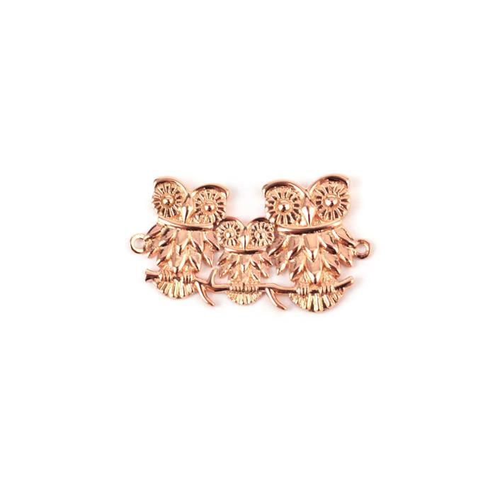 Rose Gold Plated 925 Sterling Silver Owl Family Connector Approx 30x20mm 1pk