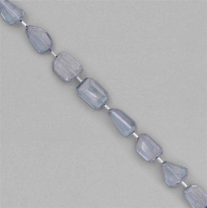138cts Blue Colour Coated Quartz Graduated Faceted Large Nuggets Approx 13x11 to 22x13mm, 18cm Strand.