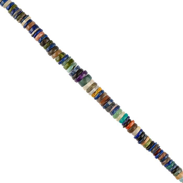 100cts Multi Gemstones Graduated Plain Wheels Approx 4x1 to 8x2mm, 22cm Strand.