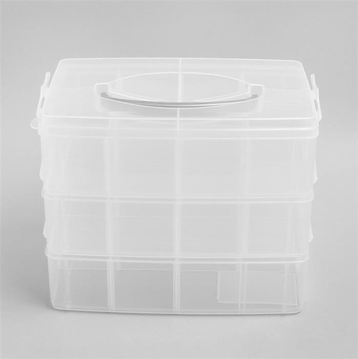 Storage Carry Case 3 Tray Tower 24.3x15.3x18.5cm